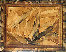 Golden Flames, Painted Tray by Ingela Noren and Daniel  Grant (Wood Tray)