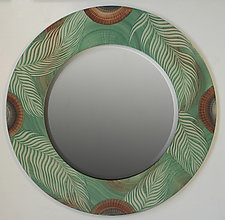 Round Green Palm Leaf Mirror by Ingela Noren and Daniel  Grant (Wood Mirror)