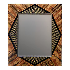 Tiger Diamond Mirror by Ingela Noren and Daniel  Grant (Painted Wood Mirror)