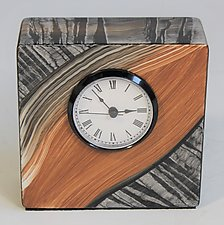 Black White Tiger Table Clock by Ingela Noren and Daniel  Grant (Wood Clock)