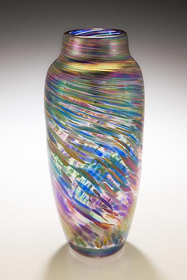 Spun Vase In Rainbow By Mark Rosenbaum Art Glass Vase Artful Home