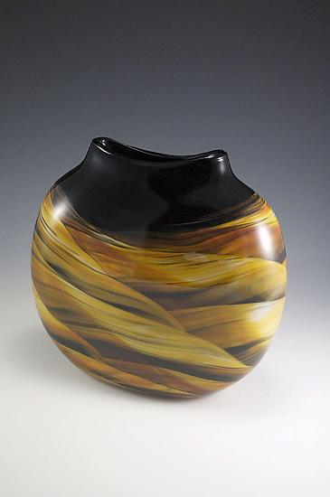 Amber Black & White Medallion Vase
