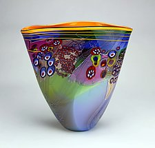 Color Field Vessel in Lime and Aqua by Wes Hunting (Art Glass Vessel)