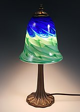 Blue Green Trumpet Table Lamp by Mark Rosenbaum (Art Glass Table Lamp)