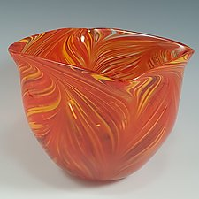 Hot Mix Peacock Bowl by Mark Rosenbaum (Art Glass Bowl)