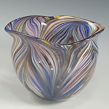 Rainbow Peacock Bowl by Mark Rosenbaum (Art Glass Bowl)