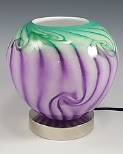 Purple Green Round Up Light by Mark Rosenbaum (Art Glass Table Lamp)