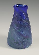 Blue Cool Mix Angle Vase by Mark Rosenbaum (Art Glass Vase)