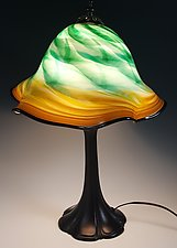 Green Amber Lampshade with Metal Base by Mark Rosenbaum (Art Glass Table Lamp)