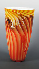 Two-Tone Cone Vase in Red & Gold by Mark Rosenbaum (Art Glass Vase)