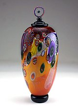 Color Field Jar in Amber and Ruby by Wes Hunting (Art Glass Vessel)