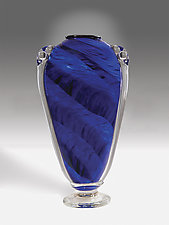 Midnight Blue Shoulder Vase by Mark Rosenbaum (Art Glass Vase)