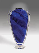 Midnight Blue Shoulder Vase by Mark Rosenbaum (Art Glass Vase)