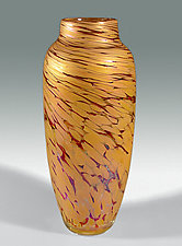 Spun Vase in Salmon by Mark Rosenbaum (Art Glass Vase)