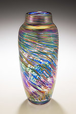 Spun Vase in Rainbow by Mark Rosenbaum (Art Glass Vase)