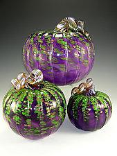 Mardi Gras Pumpkins by Mark Rosenbaum (Art Glass Sculpture)