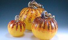 Sunrise Pumpkins by Mark Rosenbaum (Art Glass Sculpture)