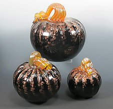 Midnight Pumpkin by Mark Rosenbaum (Art Glass Sculpture)