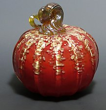Red Pumpkin by Mark Rosenbaum (Art Glass Sculpture)