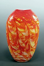 Red Hot Mix Optic Vase by Mark Rosenbaum (Art Glass Vase)