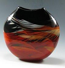 Red Medallion Vase II by Mark Rosenbaum (Art Glass Vase)