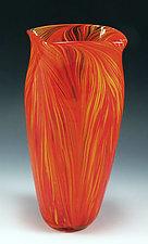 Hot Mix Peacock Vase by Mark Rosenbaum (Art Glass Vase)