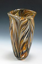 Black & Gold Peacock Vase by Mark Rosenbaum (Art Glass Vase)