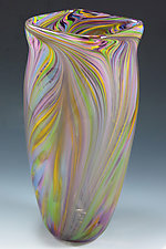 Pastel Peacock Vase by Mark Rosenbaum (Art Glass Vase)