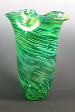 Double Green Rowena Vase by Mark Rosenbaum (Art Glass Vase)