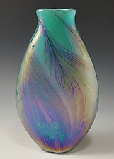Aqua Petal Vase Flat by Mark Rosenbaum (Art Glass Vase)