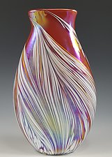 Red Petal Vase Flat by Mark Rosenbaum (Art Glass Vase)