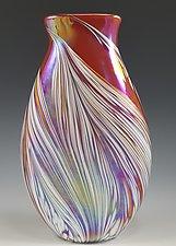 Red Petal Vase Flat by Mark Rosenbaum (Art Glass Vase)