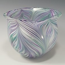 Cool Mix Peacock Bowl by Mark Rosenbaum (Art Glass Bowl)