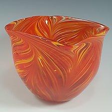 Hot Mix Peacock Bowl by Mark Rosenbaum (Art Glass Bowl)