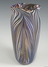 White Rainbow Peacock Vase by Mark Rosenbaum (Art Glass Vase)