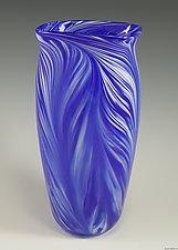 Blue White Peacock Vase by Mark Rosenbaum (Art Glass Vase)