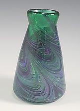 Green Cool Mix Angle Vase by Mark Rosenbaum (Art Glass Vase)