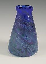 Blue Cool Mix Angle Vase by Mark Rosenbaum (Art Glass Vase)