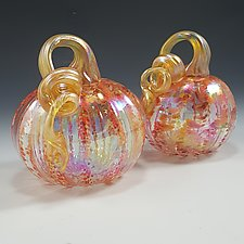 Fall Striped Clear Pumpkin by Mark Rosenbaum (Art Glass Sculpture)