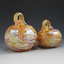 Yellow & White Iridescent Pumpkin by Mark Rosenbaum (Art Glass Sculpture)