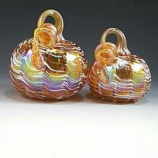 Gold & White Iridescent Pumpkin by Mark Rosenbaum (Art Glass Sculpture)