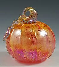 Grande Transparent Orange & Yellow Pumpkin by Mark Rosenbaum (Art Glass Sculpture)