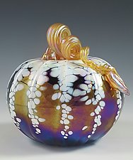 Grande Black & White Iridescent Pumpkin by Mark Rosenbaum (Art Glass Sculpture)
