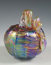 Rainbow Iridescent Pumpkin by Mark Rosenbaum (Art Glass Sculpture)