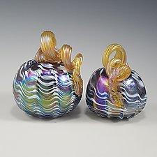 Mardi Gras Iridescent Pumpkin by Mark Rosenbaum (Art Glass Sculpture)