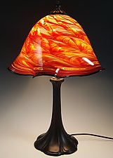 Red Hot Mix Lampshade With Metal Base by Mark Rosenbaum (Art Glass Table Lamp)