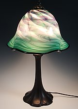 Cool Mix Lampshade with Metal base by Mark Rosenbaum (Art Glass Table Lamp)