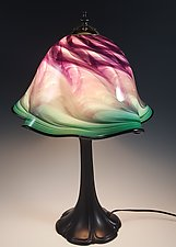 Amethyst Green Lampshade with Metal Base by Mark Rosenbaum (Art Glass Table Lamp)