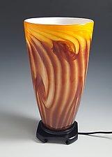 Red-Gold Tall Uplight Lamp by Mark Rosenbaum (Art Glass Table Lamp)