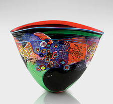 Black Color Field Vase with Red and Green by Wes Hunting (Art Glass Vessel)